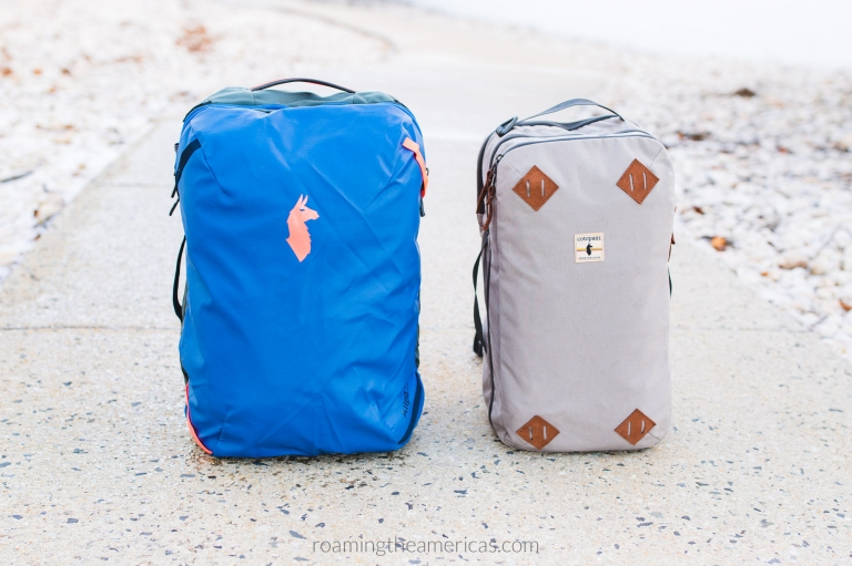 Cotopaxi Allpa 35L blue organized travel backpack next to Nazca 24L tan backpack