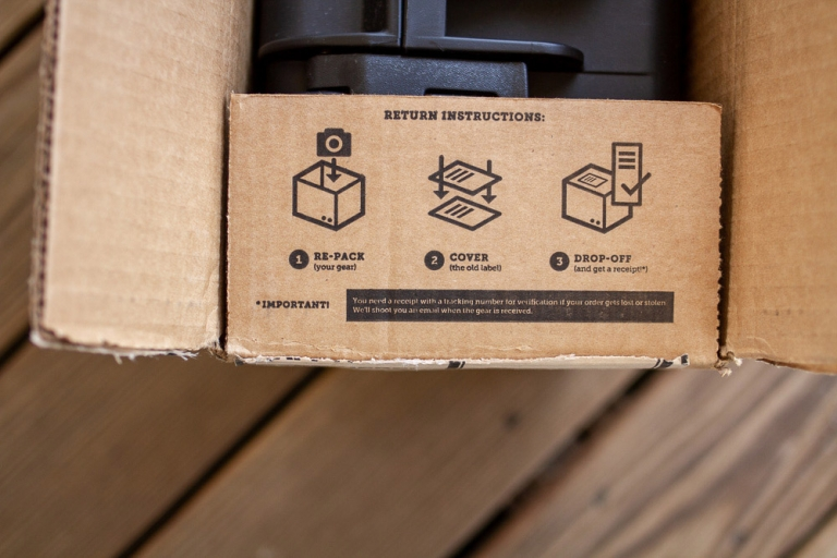 Lensrentals.com gear rental return instructions on the inside of the box