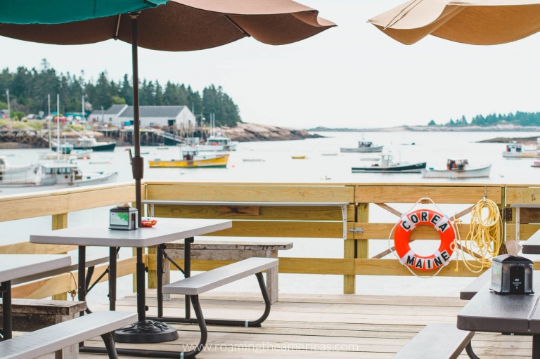 Lobster roll lunch on the wharf with a view overlooking the bay