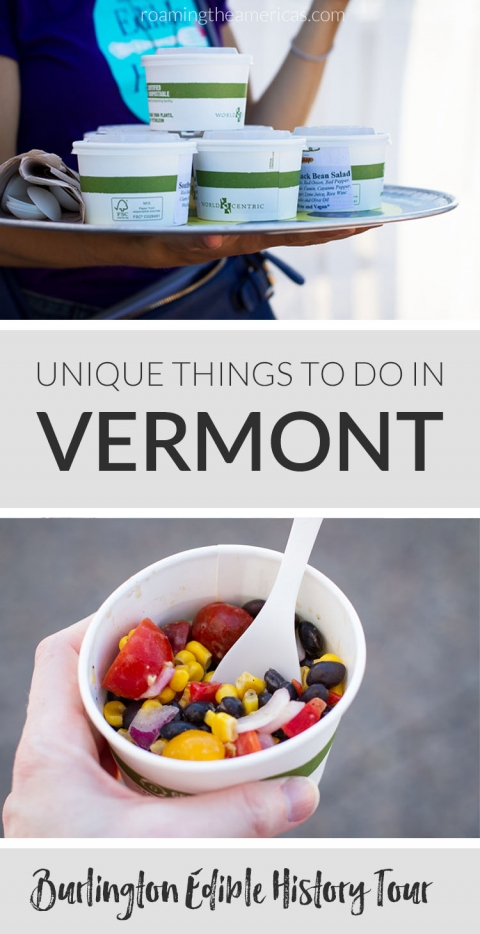 USA Travel | This fascinating walking food tour in Vermont brings together learning, farm-to-table food, and multicultural history. Experience the culinary traditions of Burlington, Vermont through interesting storytelling as you sample delicious dishes. | Unique things to do in Vermont | Burlington Edible History Tour | New England summer vacation | fun things to do in Burlington, Vermont | #newengland #vermont #bucketlist