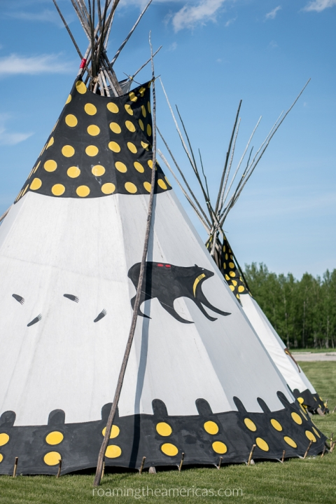First Nations traditionally painted tipi - Alberta, Canada