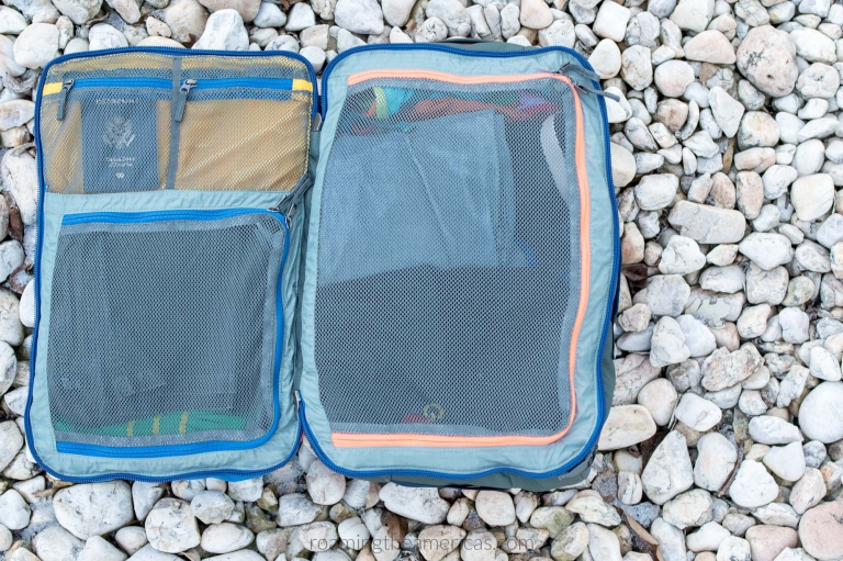 ZipZippered compartments inside the Cotopaxi Allpa travel backpack