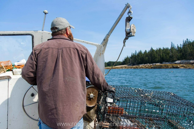 Maine lobsterman fishing off the coast of Stonington, Maine