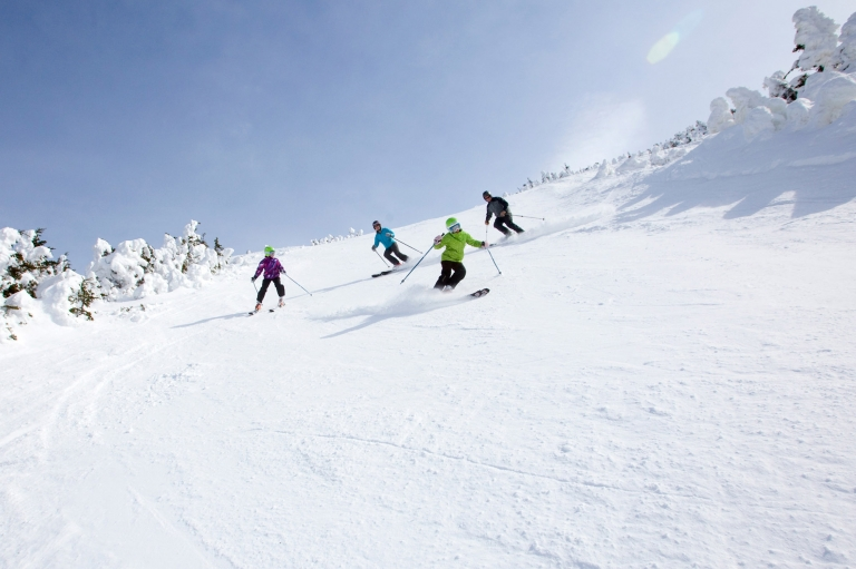 Four skiers on a mountain in Maine