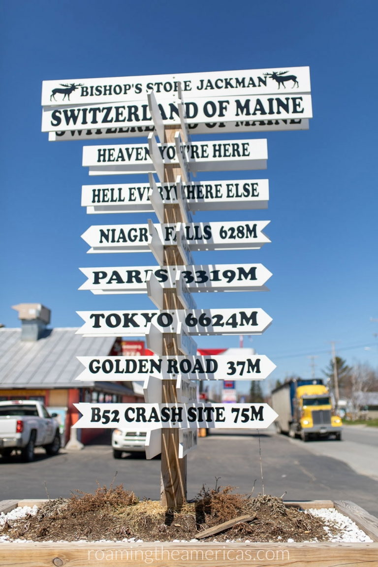 Road sign at Bishop's Store in Jackman, Maine