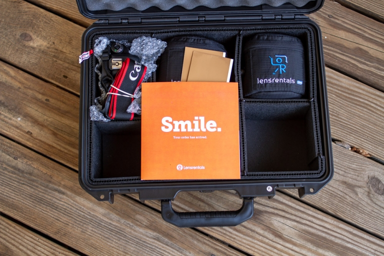 Camera and lenses packed inside a camera case from Lensrentals.com