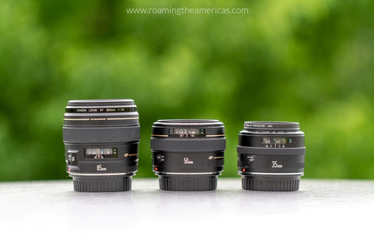 Travel photography gear - Canon 85 mm lens, Canon 50 mm lens, Canon 35 mm lens with green trees in the background