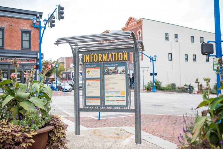 Information booth on a street corner in downtown Phoenixville, Pennsylvania
