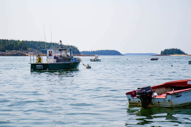 Lobster boats in the bay in Stonington, Maine