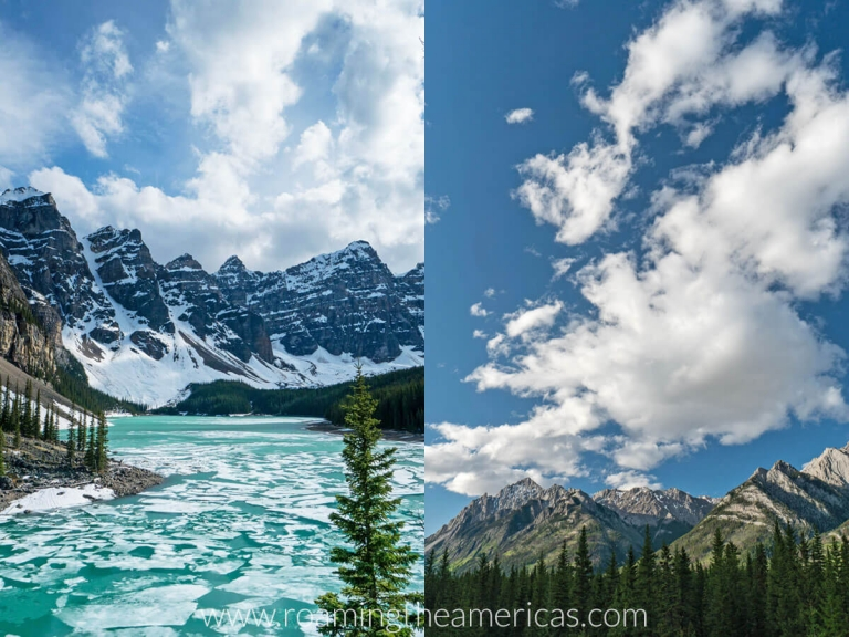 Views of the mountains and bright blue sky at Banff National Park in Alberta, Canada