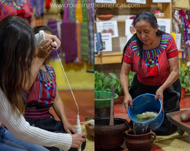 Weaving demonstration in San Juan La Laguna, Guatemala