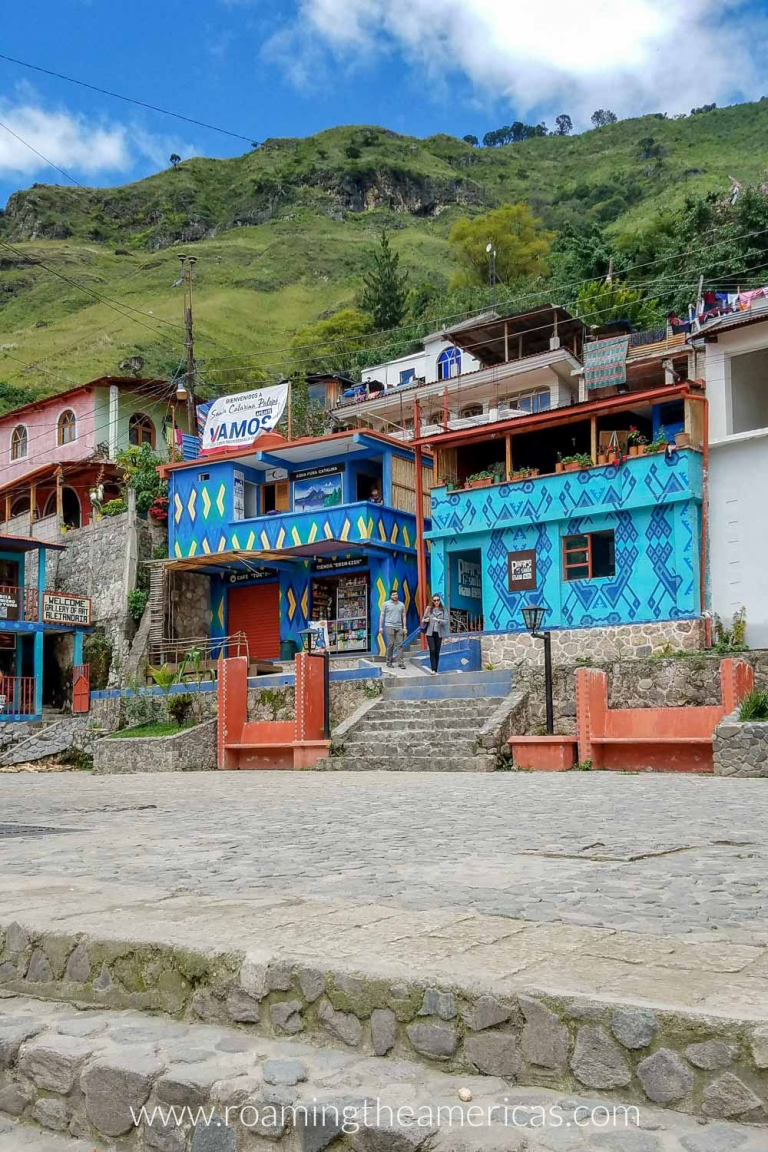 Buildings in Santa Catarina Palopó, Guatemala that have been painted with colorful geometric patterns