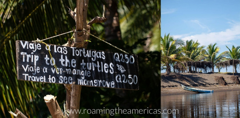 Sign showing the mangrove and turtle tours with La Choza Chula in El Paredon, Guatemala