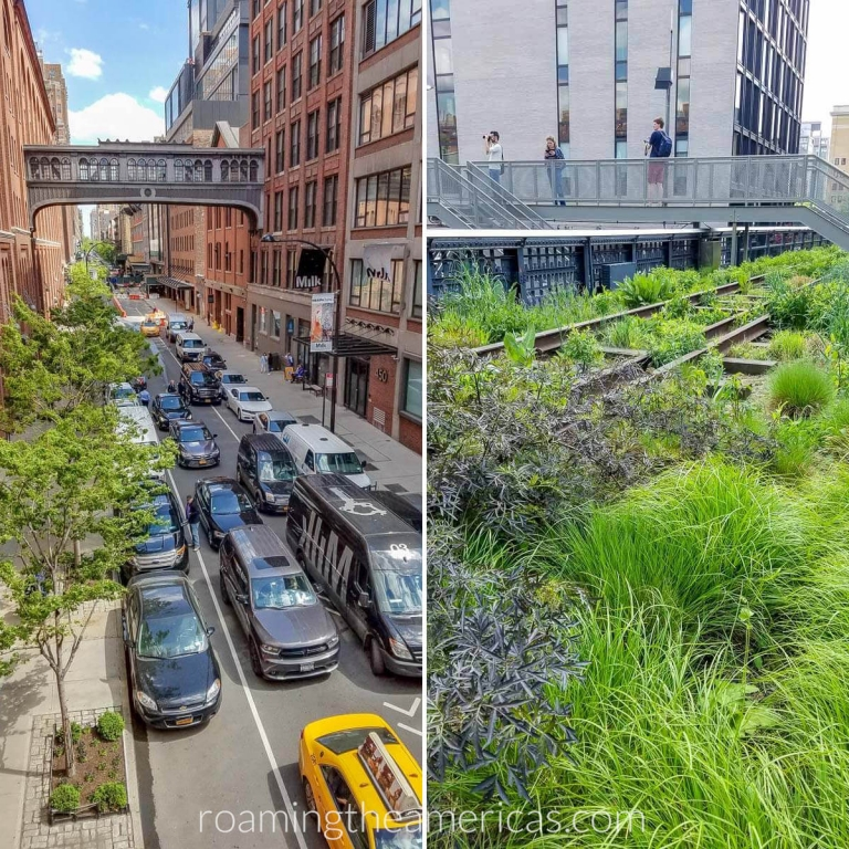 Views of landscape, walkways, and city streets below from High Line Park in NYC