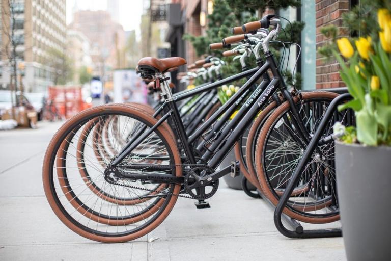 Bikes on a bike rack at Arlo Soho Hotel in downtown Manhattan
