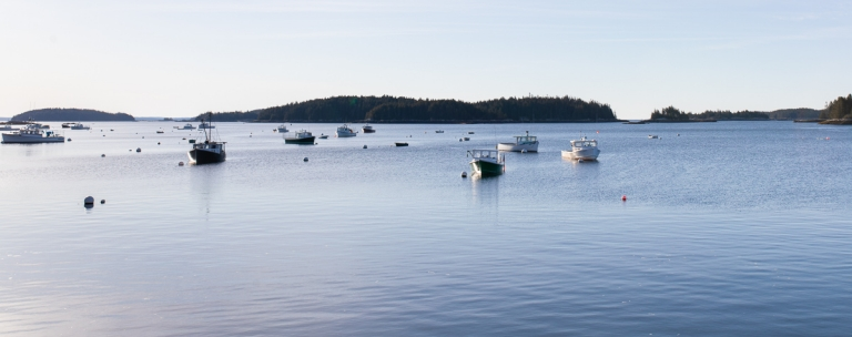 Lobster boats in the harbor off the coast of Stonington, Maine