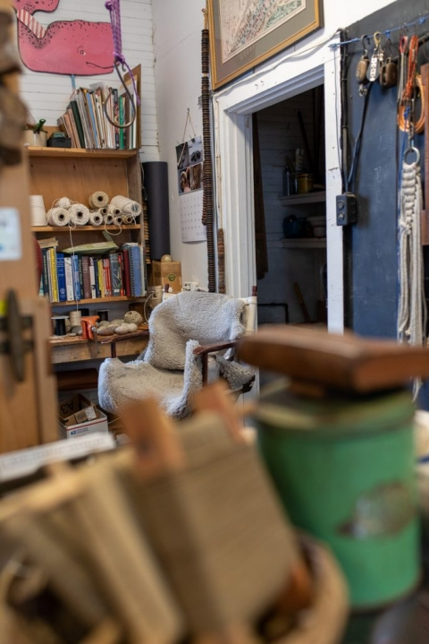 Working studio of Marlinespike Chandlery owner and artist