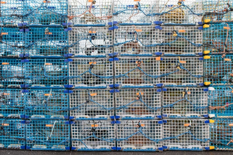 Blue and white lobster traps stacked high on a dock on Deer Isle