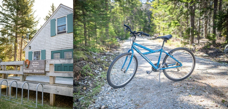 Mountain bike on a dirt road and the ranger station in Acadia National Park on Isle au Haut