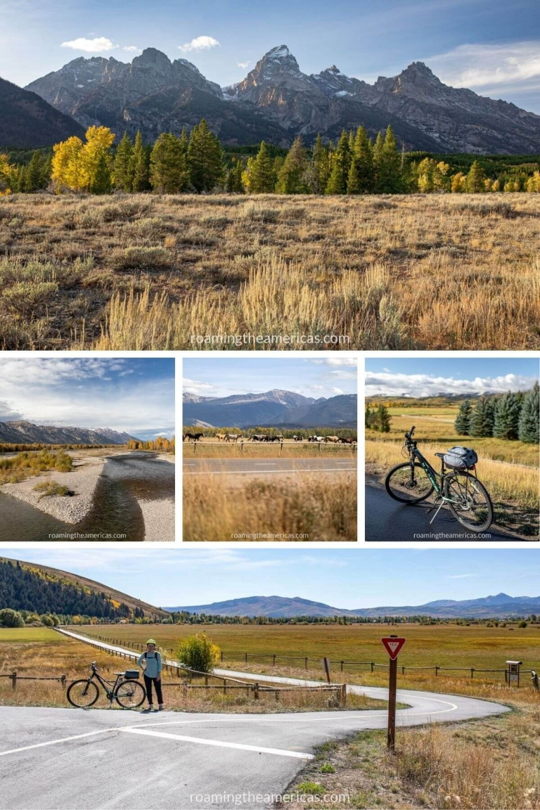 Image collage of scenic views of mountains, the Snake River, and horse ranches from the bike paths around Jackson Hole and Grand Teton National Park.