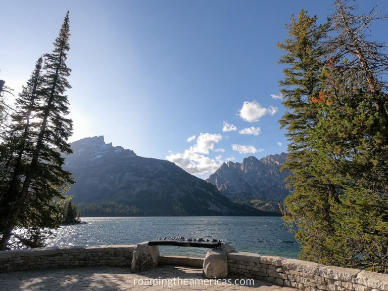 Bench and tall pine trees in the foreground with Jenny Lake in the middle and the Teton Mountains and blue sky in the background