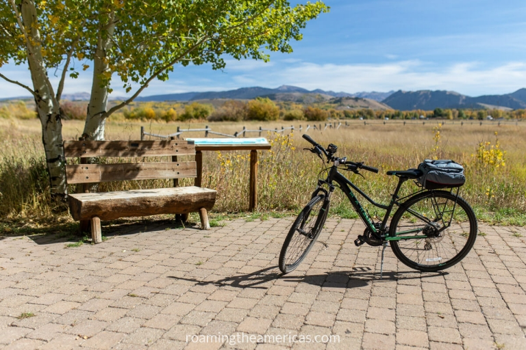 Bike on a pull-off area with a bench under a tree and wetland informational sign